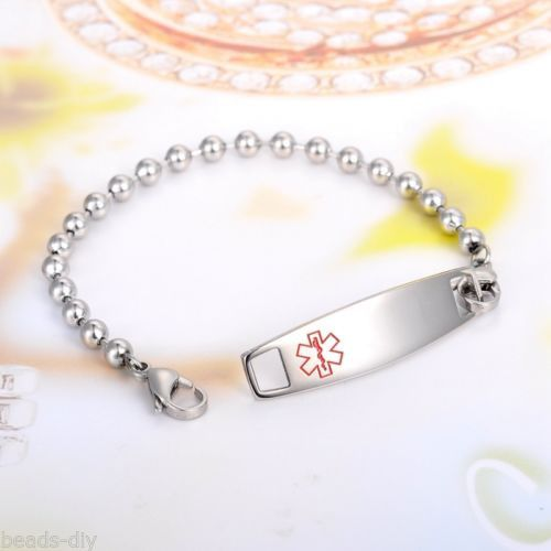 1PC BD Fashion Silver Stainless Steel Medical Logo Recordable Bracelet 21.5CM