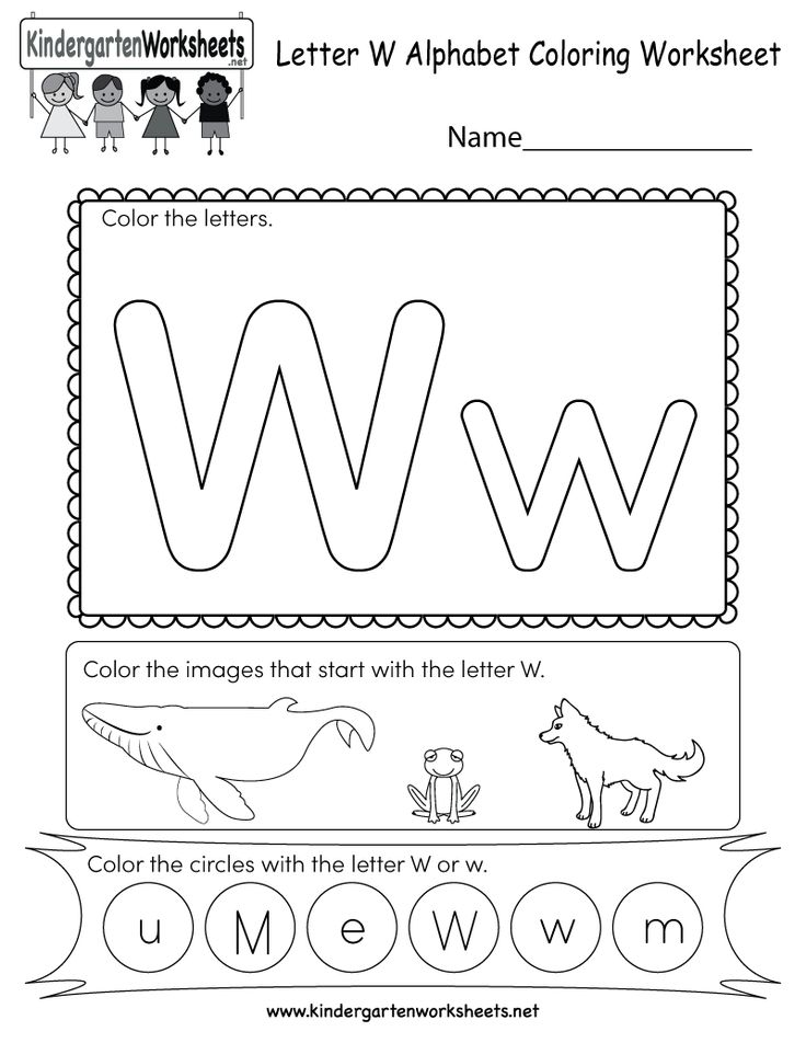 This is a letter W coloring worksheet. Children can color