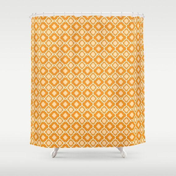 Orange Shower Curtain, Orange Shower, Orange Bathroom, Modern Shower, Spice Shower, Pumpkin, Contemporary Shower, Fall, Carmela, Diamond