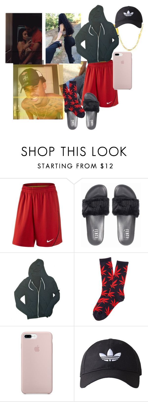"""Nighty-Messy but...."" by p-aradise-anons ❤ liked on Polyvore featuring NIKE, American Apparel, HUF, adidas Originals, men's fashion and menswear"