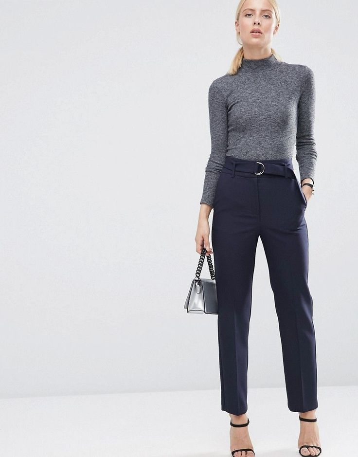 Image 1 of ASOS Highwaist Pants With Belt Detail