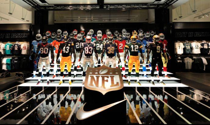 Nike | NFL Takeover At Nike Town London, display by Millington Associates | via Auriane White