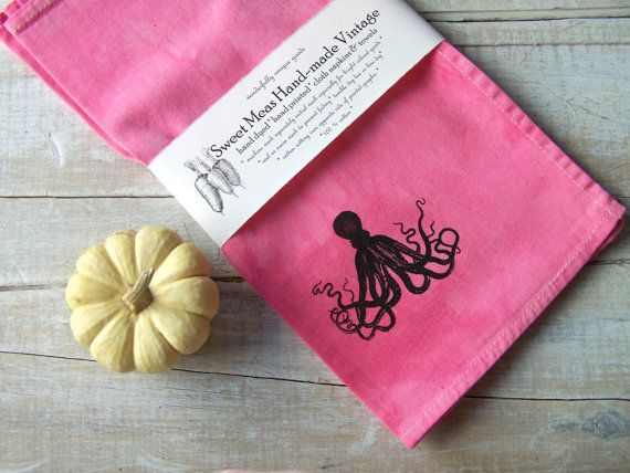 Cloth Napkins // Octopus Decor // Pink Kitchen Decor by SweetMeas, $45.00