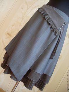 Юбка с запАхом - серый,юбка,бохо,бохо-стиль,кантри,оборки,юбка с запАхом