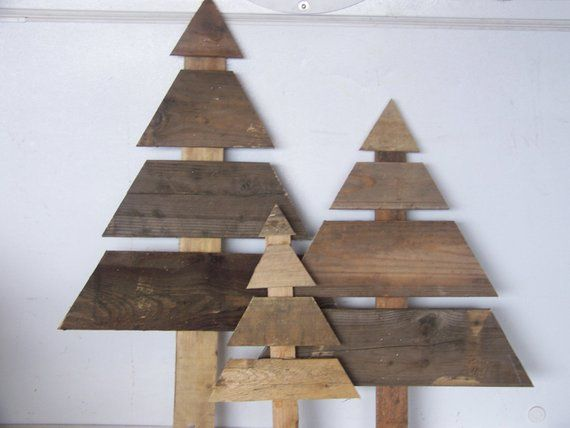Set Of 3 Large Wooden Christmas Trees Reclaimed Wood