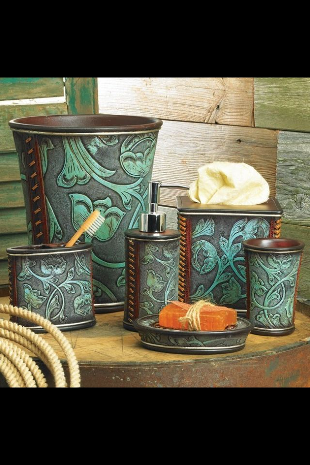 Western Decor Floral Tooled - Turquoise Bathroom Accessory Set
