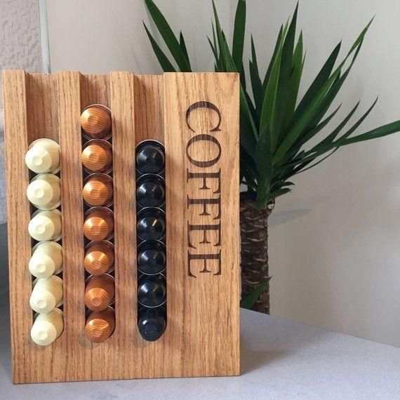 Personalised Nespresso Coffee Pod Capsule Oak Wood Holder Rack Em