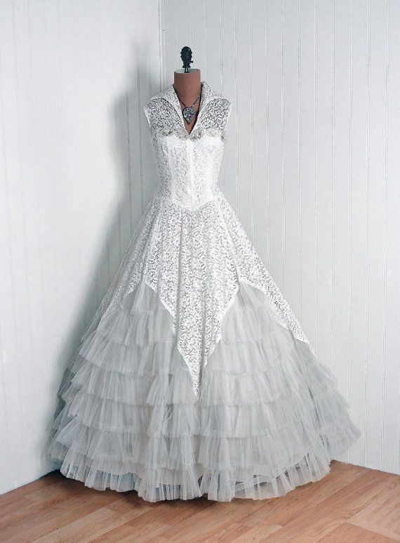 Couture Wedding or Formal Gown: 1950's, French, beaded sequin illusion lace, tier-ruffled tulle.