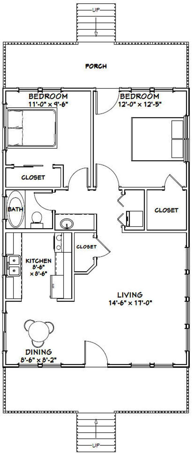 24x36 House 2Bedroom 1Bath 864 sq ft PDF Floor Plan
