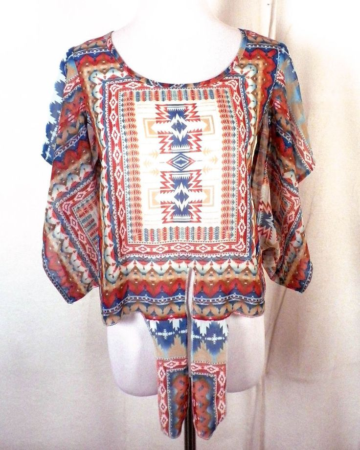 euc Live and Let Live semi sheer Southwest Aztec Top Tunic cropped tie off PS #Liveandletlive #TunicCroptop