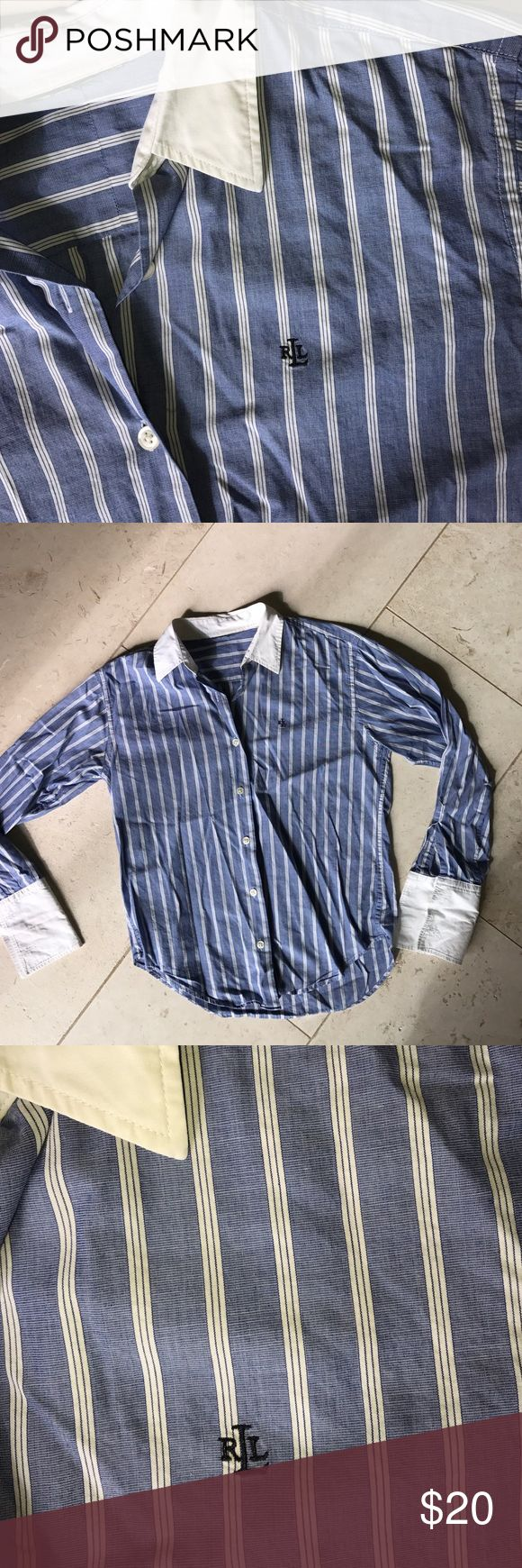 "Lauren Ralph Lauren cotton button down Love but have too many. No more tags. But recall as cotton blend. Chest abt 38"". Length abt 19""-22"". Shirt tail hem. So easy with a pencil skirt or dress pants! Lauren Ralph Lauren Tops"