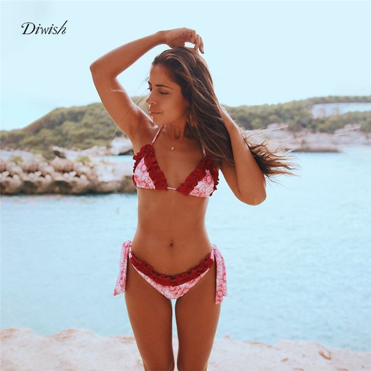 Diwish Ruffle Bikini Set Sexy Swimsuit Women 2019 Floral Lace Up Micro Bikini Brazilian Triangle Halter Printed Swimwear Women