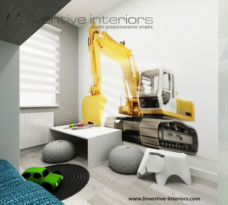 Projekt pokoju dziecięcego Inventive Interiors - fototapeta koparka, pufy w miejscu zabaw