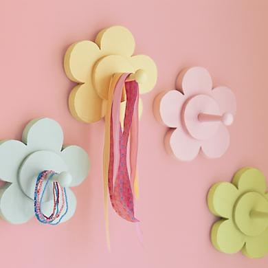 Kids' Clothes Trees & Wall Pegs: Kids Hand-Painted Wooden Flower Wall Pegs in Shelves & Wall Hooks