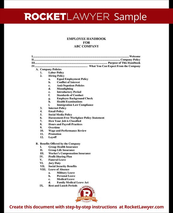 I chose this image because it is a table of contents example of a basic employee manual. As you can see important topics will be covered in the employee manual such as employee benefits. The document helps clarify the legal agreement made between employers and employees when a new employee is hired.