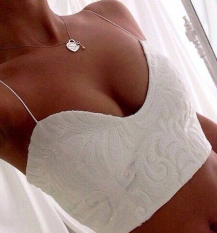 Exquisite V-Neck Spaghetti Strap White Crop Top For Women Vests & Tank Tops | RoseGal.com Mobile