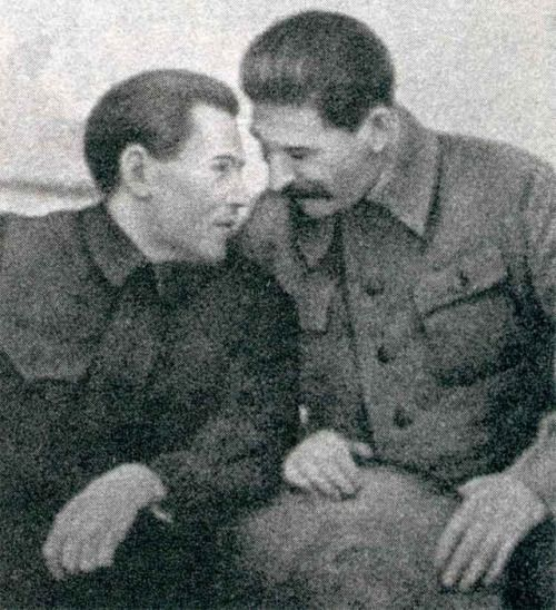 NKVD chief Nikolai Yezhov confers with Joseph Stalin. 1937, Soviet Union via reddit [[MORE]] Under the direction of Nikolai Yezhov, Stalin's political repression intensified. Politicians, military officers, religious figures, government officials, foreign communists, prominent intellectuals, and even NKVD employees were all targeted as enemies of the state.