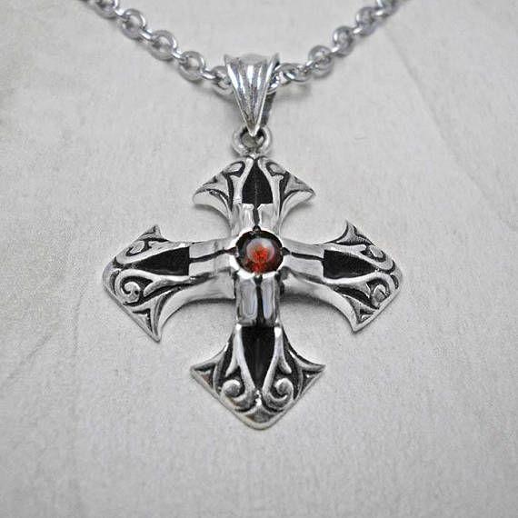 Silver necklacecross pendantgarnet necklacegothic