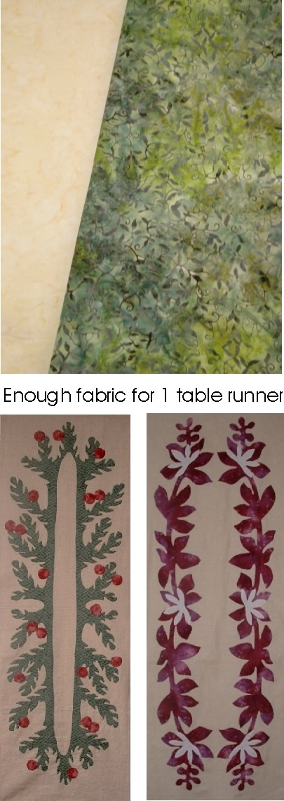 Fabric Plus Pattern Kits: Table Runner-Green/Yellow Fabric+Pat Puki+Naupaka - These two fine hand-dyed fabrics have bee