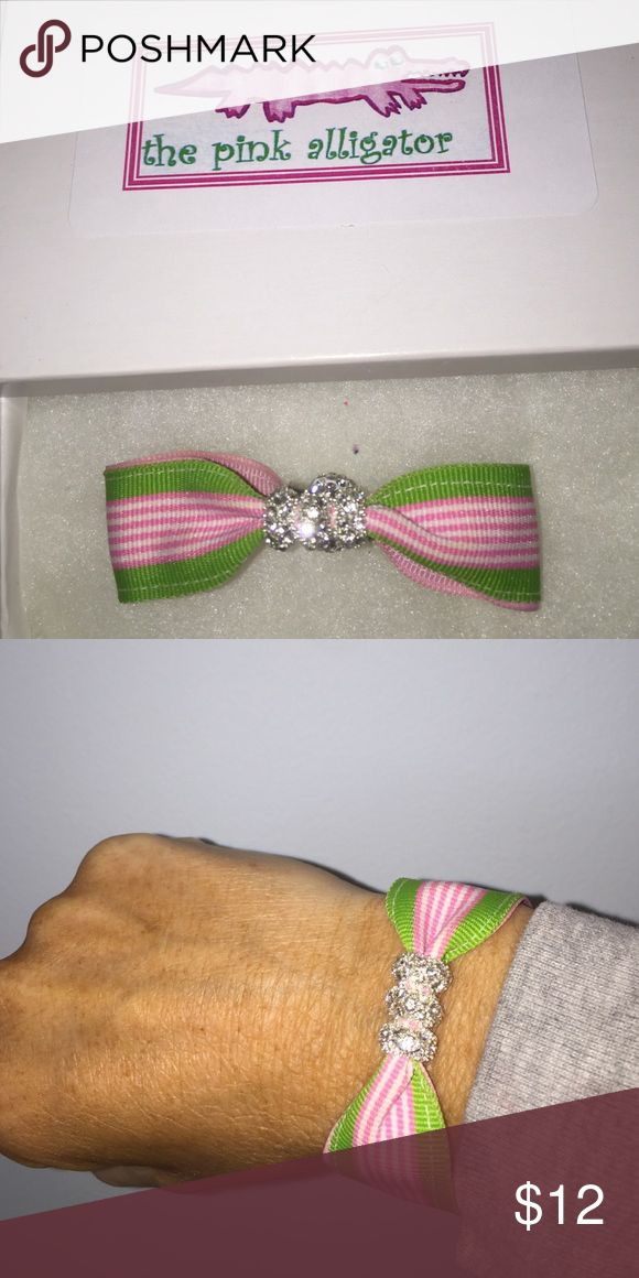 Pink and Green Preppy Bracelet Gorgeous Magnetic rhinestone bracelet new design now with three rondelles.  New in box...you will love it! Jewelry Bracelets