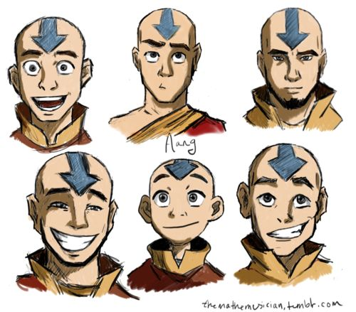 Aang through the ages-- I love how in most of them he's making a face or smiling or whatever, and then there's the top right picture where he's just staring at me...