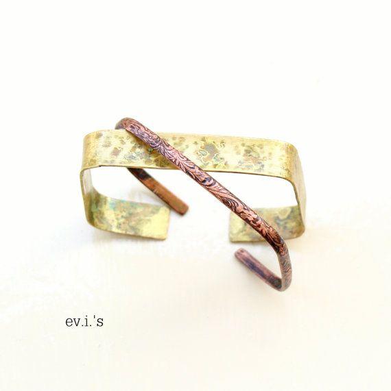 Set of 2  Square Copper Brass Bracelets by EVIsMetalworkJewelry, €32.00