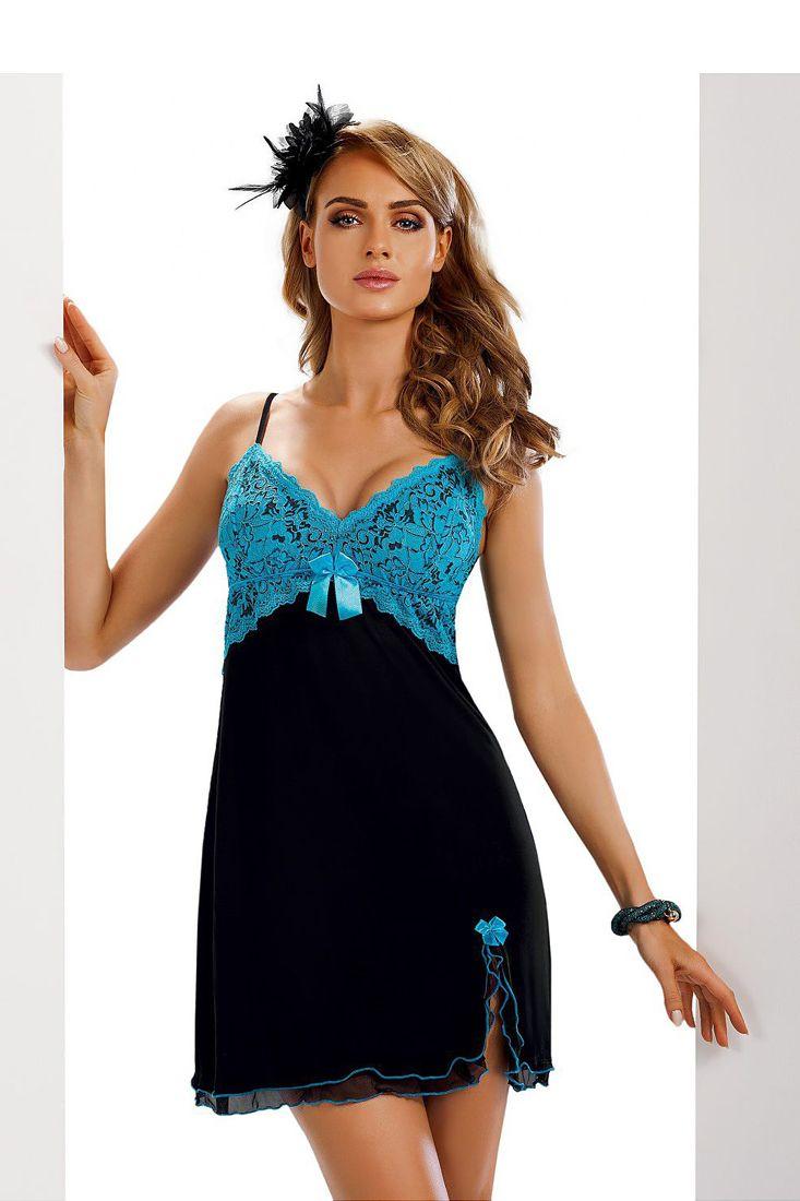 Blue Black Lace Night Dress by Donna - Designer Women's Sleepwear Online.  Sleepwear Dress, Nighty, Ladies Sleepwear.  R1250.00  http://fashionhub.co.za/blue-black-lace-night-dress-by-donna.html