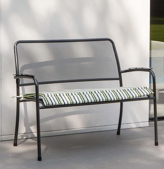 Metal Garden Bench & Striped Lime Cushion