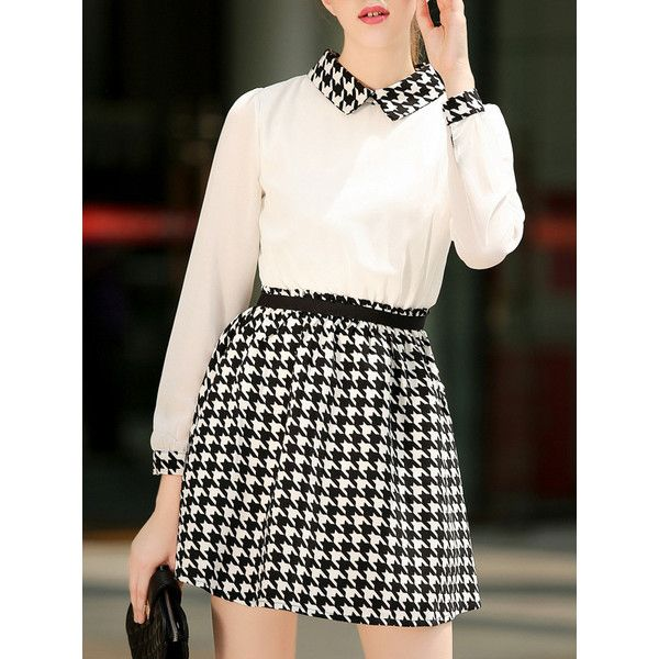 Doll Collar Long Sleeve Houndstooth Dress (2555 ALL) ❤ liked on Polyvore featuring dresses, black and white, black and white short dresses, long sleeve dresses, black and white dress, houndstooth dress and short sleeve dress