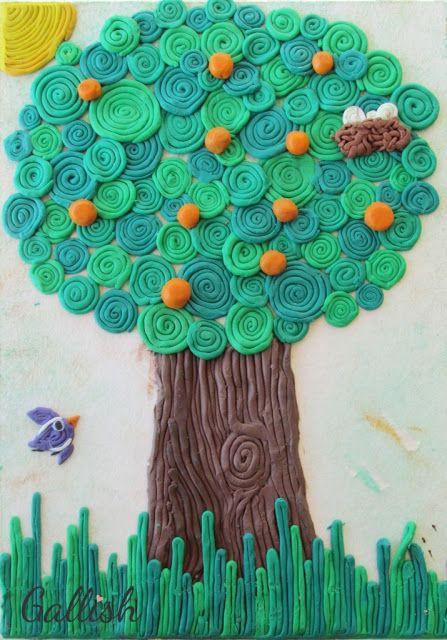 gallish לילדים: עצים מפלסטלינה