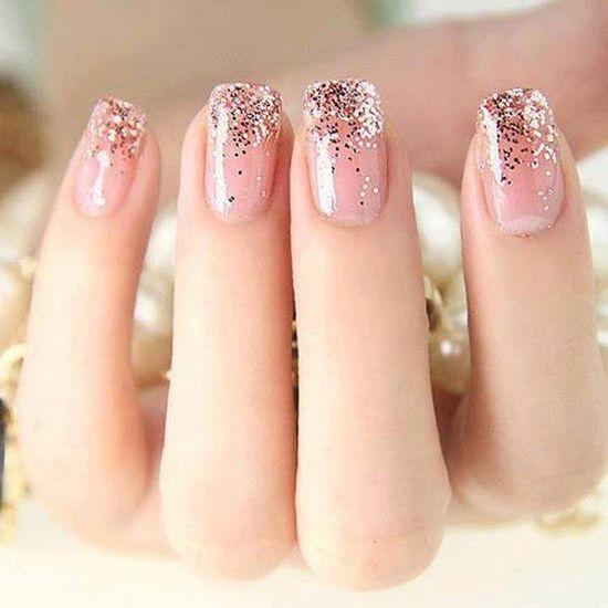 light pink nails sparkle