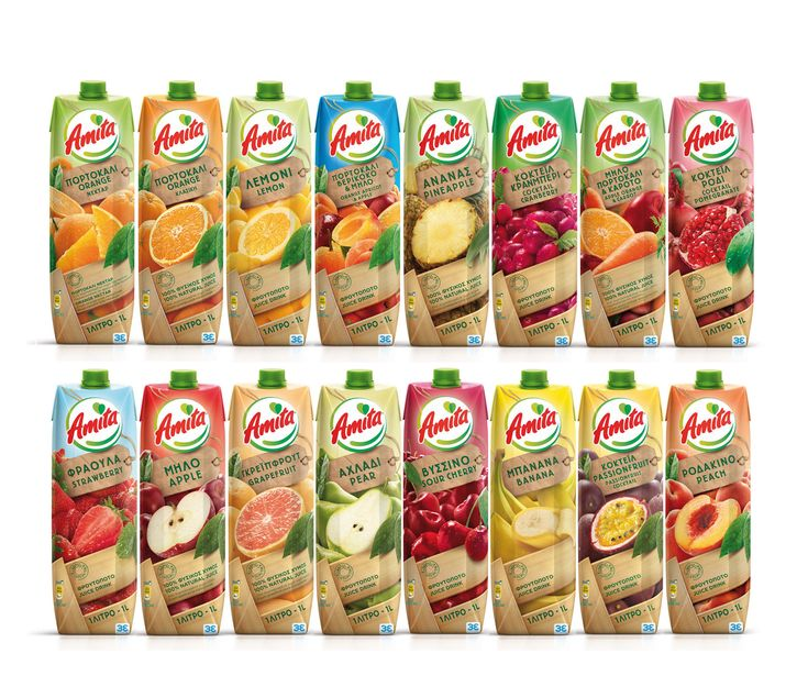 Branding and design for Amita fruit juices by MILK Branding Professionals.