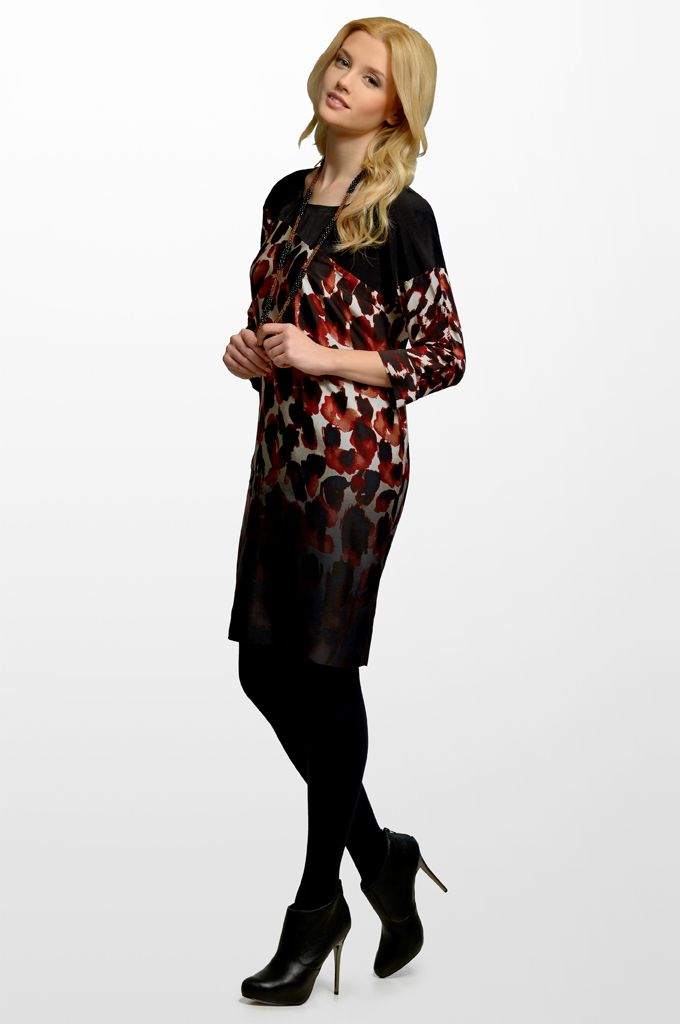 Sarah Lawrence - 3/4 sleeve printed dress with combination of three fabrics.