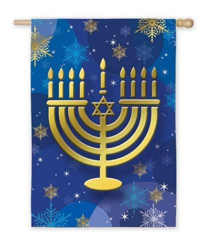 """Hanukkah Menorah Garden Flag by Evergreen. $8.58. Hand-crafted. Fade-resistant colors. 12.5"""" x 18"""". Soft, high-quality nylon fabric. Flags are the greeting card of your home! Add a piece of colorful and welcoming décor to your outdoor setting with one of these flags. Made of durable materials, the vibrant colors in this flag will last for years to come.. Save 39%!"""