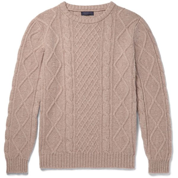 Thom Sweeney Cable-Knit Cashmere Sweater (2.970 RON) ❤ liked on Polyvore featuring men's fashion, men's clothing, men's sweaters, mens cable sweater, mens cashmere sweaters, mens cable knit sweater, mens cashmere cable knit sweater and mens chunky cable knit sweater