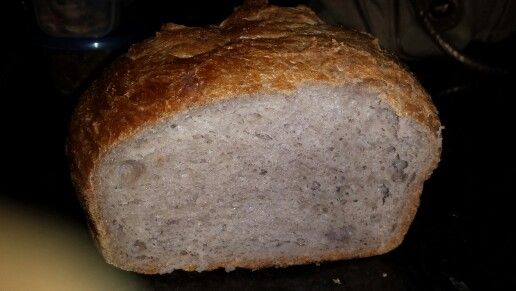 Best no knead bread ever. Replaced 50g flour with 50g psyllium husk and added 3 tbsp benefiber so increased yeast to 1/2tsp and water to 14 oz.  High fiber loaf.  60 g fiber in entire loaf.