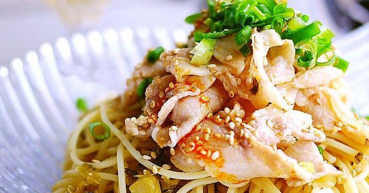 きざみ高菜がパスタに絡みピリ辛味冷しゃぶで食欲UP♪お箸で食べる和.中華献立にも◎忙しい日のディナーにも◎