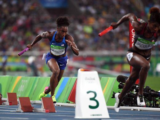 Tianna Bartoletta (USA) runs during the women's 4x100m