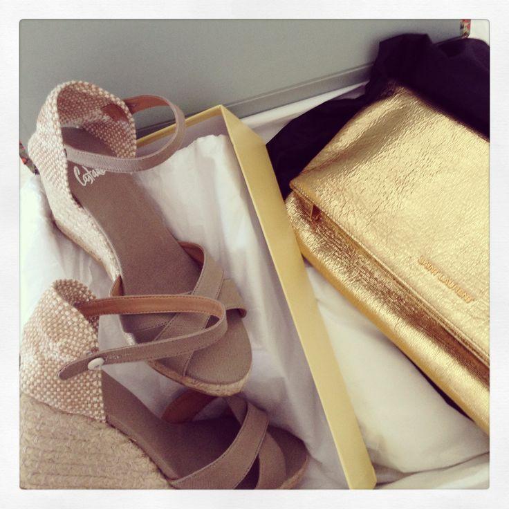 Saint Laurent gold foldover clutch, Castaner Espadrilles, matchesfashion