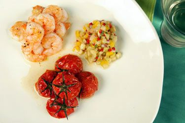 Feijoa salsa with prawns and roasted tomatoes