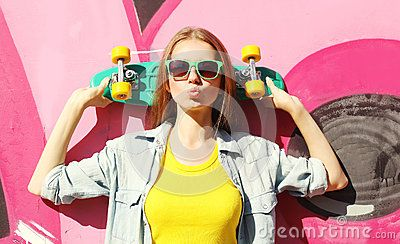 Fashion Pretty Cool Girl Wearing A Sunglasses And Skateboard - Download From Over 50 Million High Quality Stock Photos, Images, Vectors. Sign up for FREE today. Image: 60906202