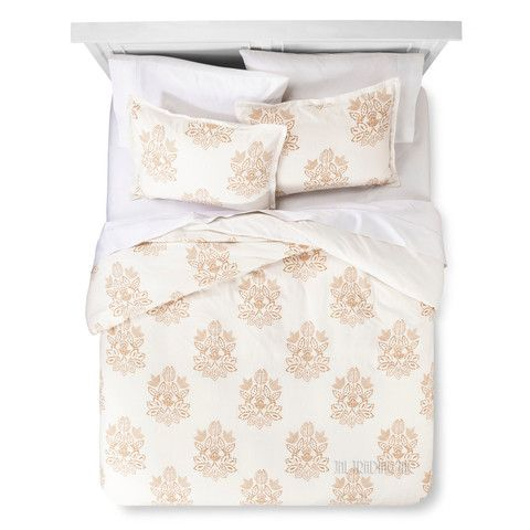 Threshold Trade Medallion Linen Cotton Blend 3 Pc Duvet Cover Set FULL/QUEEN