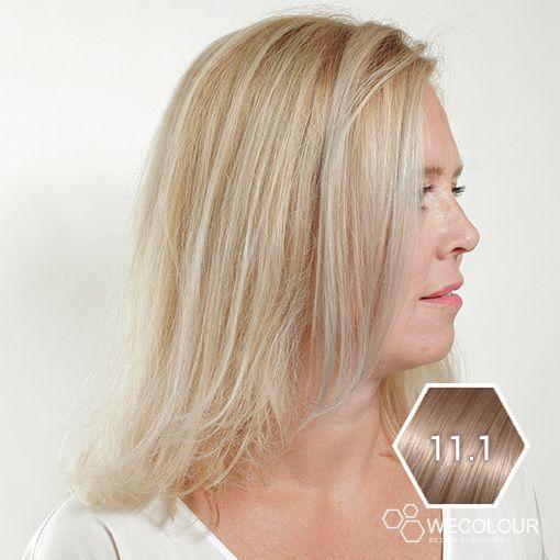 Deze zeer lichte asblonde haarkleur is erg mooi, 100% grijsdekkend en bevat een lichte astint.  #wecolour #astint #as #haarkleur