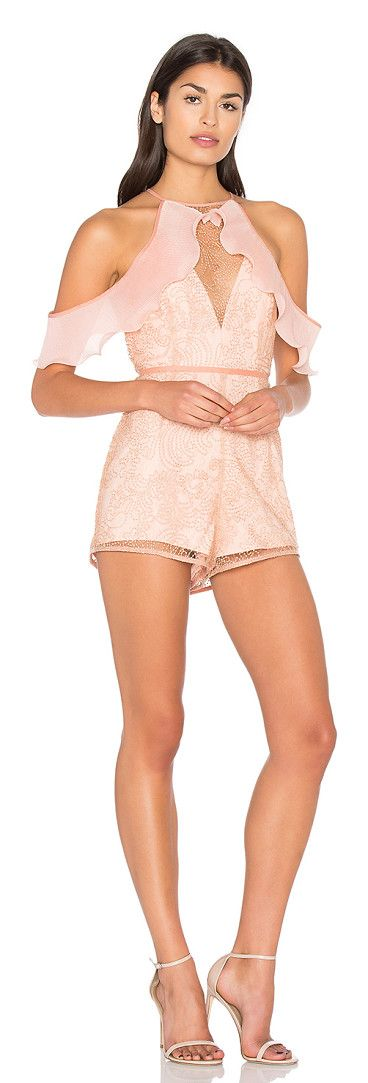 Your disco needs you playsuit by Alice McCall. Poly blend. Dry clean only. Metallic embroidered mesh fabric. Ruffled pleated fabric detail along top. Back keyhole w...