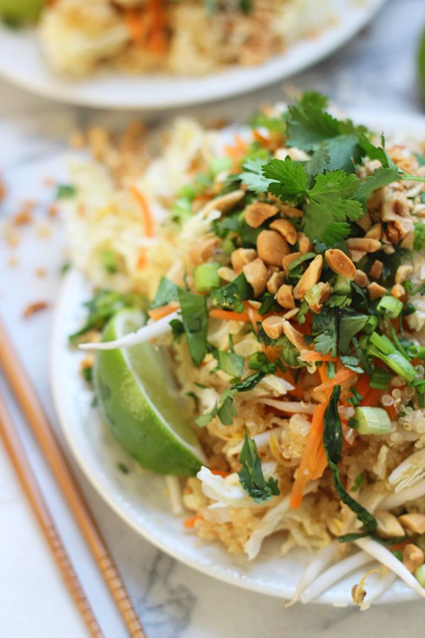 Quinoa Pad Thai. Oh how I love Quinoa and Pad Thai, never thought to combine the two.