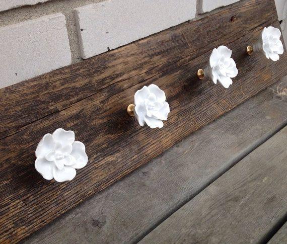 Rustic wood coat rack with white rose hooks entryway storage wall coat hook rack, towel rack, wall coat hooks jewelry organizer scraf hanger