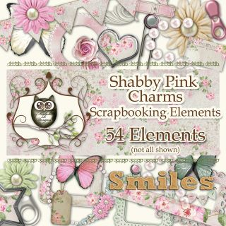For INSTANT DOWNLOAD please visit my Etsy Store  54 assorted embellishments designed to coordinate with the Shabby Pink Charms…