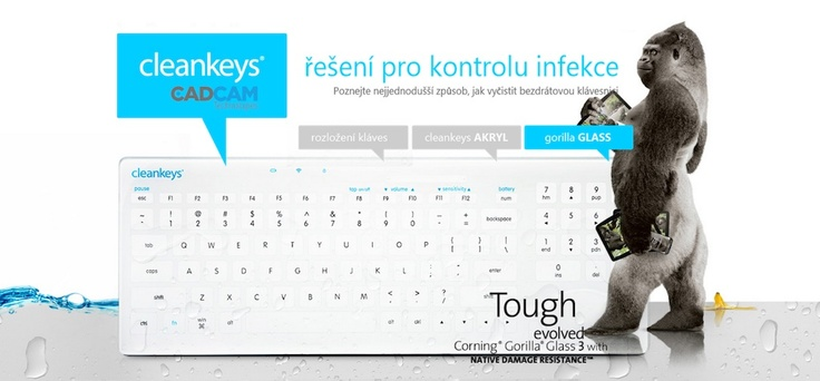 Cleankeys keyboard with  Corning®  Gorilla ® Glass
