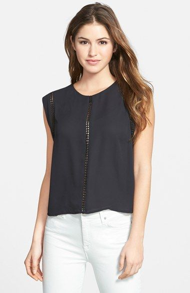 Vince Camuto Crochet Trim Sleeveless Georgette Top available at #Nordstrom