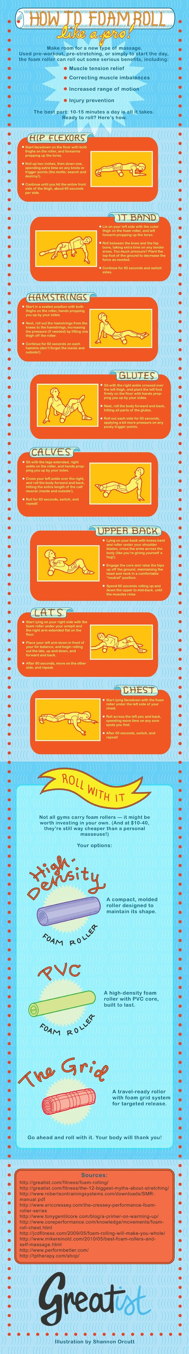 How to Foam Roll Like a Pro by greatist #Infographic #Foam_Roller